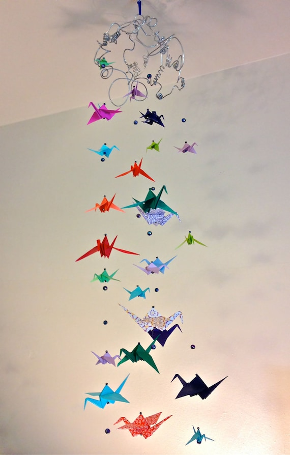 multicolored origami crane mobile by betweenthespectrum on