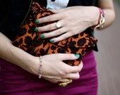 Charlene Clutch in Orange and Chocolate Floral Woven - shopoleander