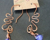 Copper and glass dangle earrings