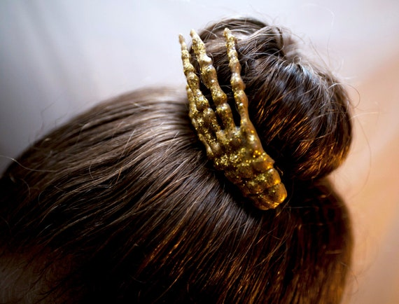 Gold Glitter Skeleton Hand Hair Clip