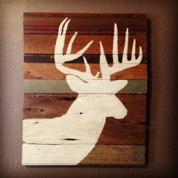 Deer Silhouette Painting on Rustic Wood
