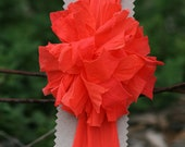 Hand Dyed Headband with Orange Pom Pom Summer Bright Soft lightweight - FeathandKee