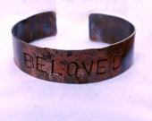 His or Her's Bracelet Cuff-Rustic Handmade Copper 'Beloved' Cuff Bracelet