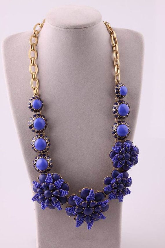 Free Shipping - New Fashion Jewelry Handmade Blue Azalea Flower Necklace, bubble necklace, Party Necklace, wedding necklace