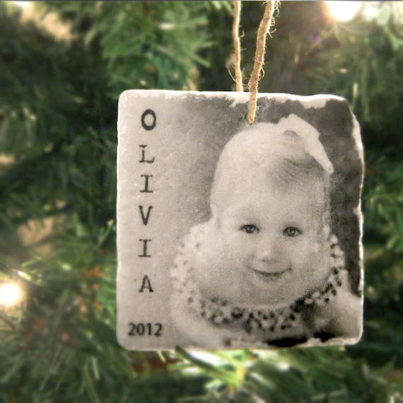 Personalized Photo Ornament - Tumbled Marble 2in. x 2in. - Handmade Holiday Decoration