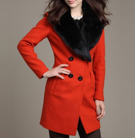 Red Long Woolen Coat/ Cashmere Coat/ Double-breasted Wool Coat/ Winter Coat/Woman coat/ Long Jacket/ Long Sleeves/Cony hair collar