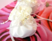 White Satin Drawstring Wedding Favor Bag with Rhinestone Satin Ribbon Rose and Pearl Opening - Set of 50 Wedding Favor Bags - Ready to Ship