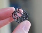 Small Tendril Ring (size 6) Black Sterling Silver Delicate Scroll Band