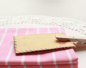 Sweet Pink White Striped Cotton Fabric in Fat Quarter (Zakka)