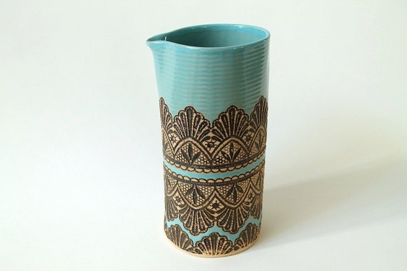 Handmade Large Moroccan Lace Pitcher in Turquoise