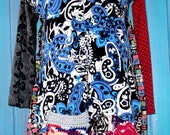 Upcycled multi pattern long sleeve cardigan tunic fits sm med lg