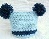 Crochet Blue Baby Hat, Little Boy Blue, 0 to 6 months