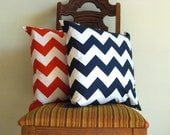 Red Navy blue pillow covers 20 x 20  Decorative modern chevron white red crimson scarlet Riley Blakezig zag cotton Handmade Set of TWO - VFIllustration