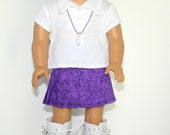 American Girl Doll White Knit Polo Shirt Purple Print Pleated Skirt Tall White Boots Charm Necklace - JessieAmerica