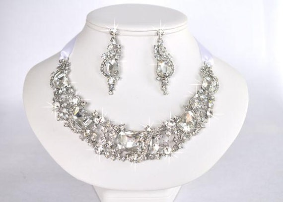 Sparkle-1091 Beautiful Vintage Inspired Crystal Rhinestone Statement Necklace Set, Bridal, Wedding