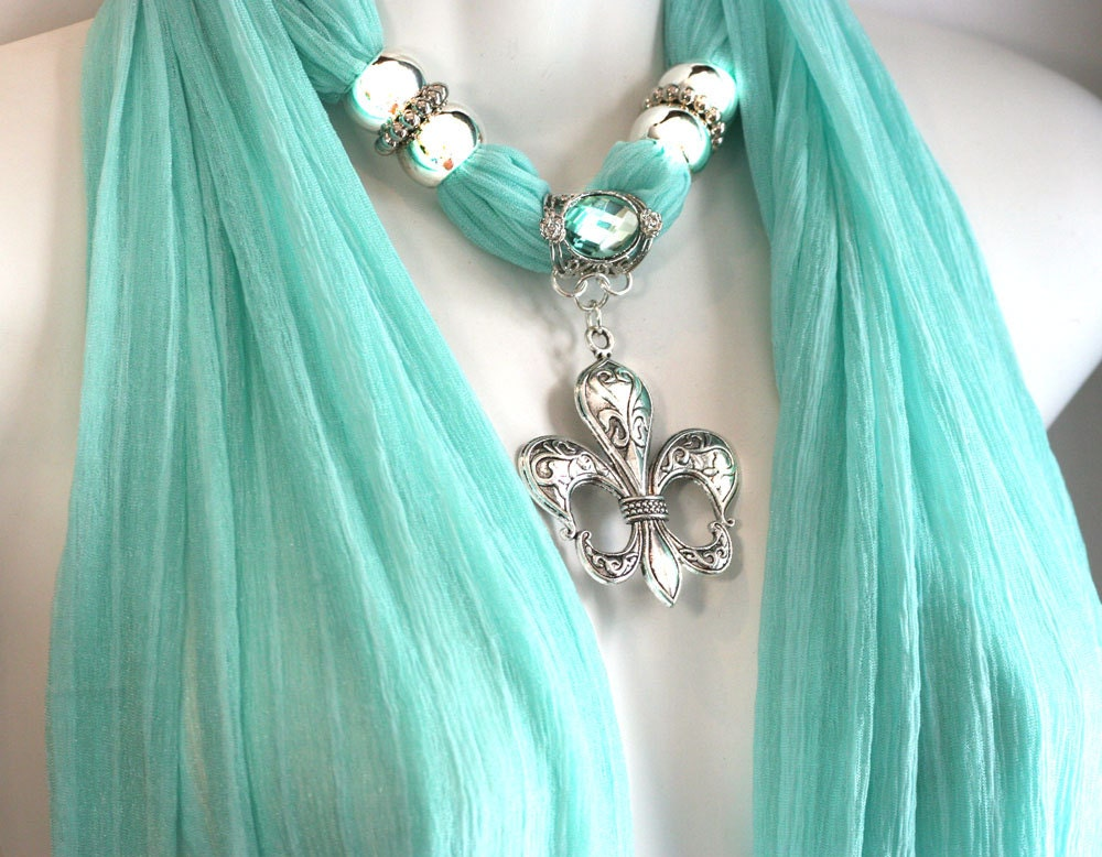 Scarf With Jewelry Pendant Seafoam Scarf by RavensNestScarfJewel Scarves With Jewelry On Them