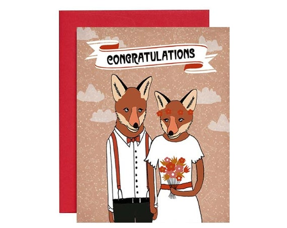 Congratulations - Wedding Foxes Card
