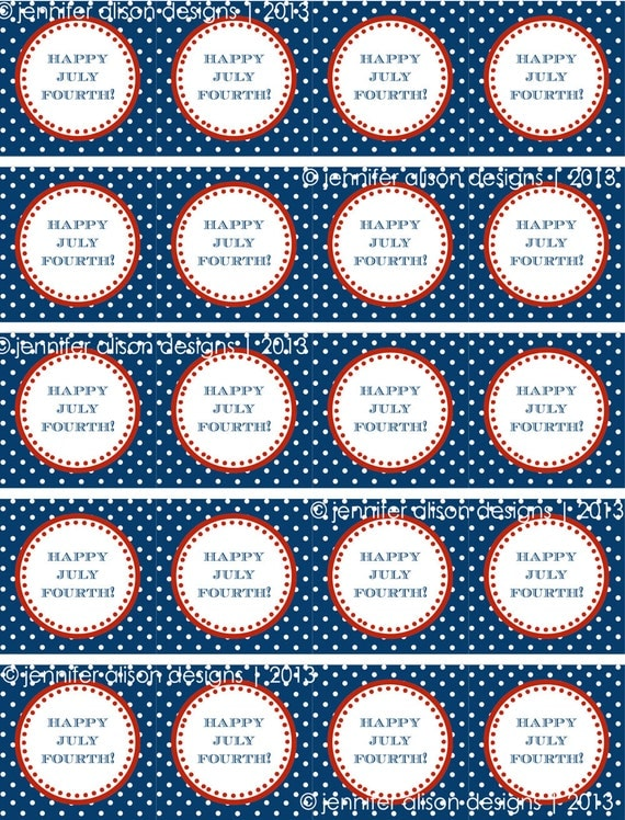 "INSTANT DOWNLOAD / 4th of July American Flag 2"" printable Party Squares / Cupcake Topper / Stickers / Thank You Tags"