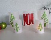Set of 5 Holiday Luminaries JOY and Ribbon Candy Trees - Great for Parties - Holidays - Weddings - Home Decor