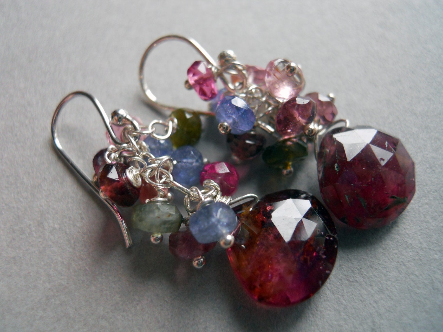 Tourmaline and gemstone cluster earrings: Long Island Garden Shirzay Collection - $82.00 USD
