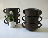 6 Ironstone Soup Mug Bowls - Brown Clay - Brown Glaze - BeeJayKay