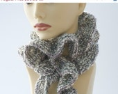 Gray Ruffled Scarf, Hand Knit in Soft Shades of Grey and White, Ruffle Clothing, Fall Fashion - beadedwire