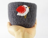 felted bowl - grey wool bowl with white and red bird -  winter inspired candy bowl, ring holder, Christmas decor, decoration - theFelterie