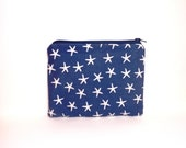 Pouch Cotton Medium Cosmetic Bag Toiletry Bag  Navy Blue StarFish - handjstarcreations