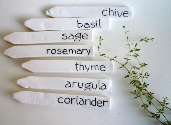 7 herb garden porcelain markers