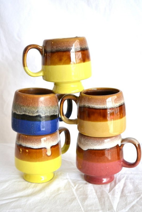 Vintage Cafe Blue, Pink, Yellow and Brown Flowing Glaze Mugs, Set of Five