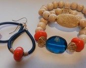 Sapphire Coil Earrings with Matching Wood Beaded Stacked Bracelets