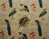 Wilmington Tropical Travelogue Bird Paradise Flamingo Gold 1940s Retro Fabric - AliceInStitchesArts