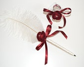 Cruelty Free Ostrich Feather Pen & Stand for Wedding Guest Book