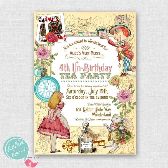 Alice in Wonderland printable birthday invitation - vintage shabby chic tea party