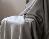 Natural Linen / Wool Boucle / Throw Blanket / Handmade - PatternStudio