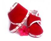 Baby Booties Red Strawberries White Baby Shoes Newborn