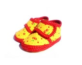 Baby Booties Cherry Yellow Red Dotted Baby Shoes Newborn