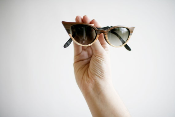 The Original Wood Veneer Sunglasses - Ombre Wood Veneer Cateye - Womens Fade Sunglasses