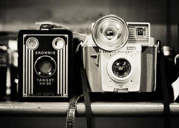 "Camera Print ""A Pair of Kodak Brownies"" 5x7 Fine Art Photography Black and White photo Camera Vintage camera print"