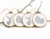 Silver and white Christmas Ornaments with deer and pinecone - Holiday home decor, Christmas decorations, Embroidery hoop ornaments set of 4 - ClassicByNature