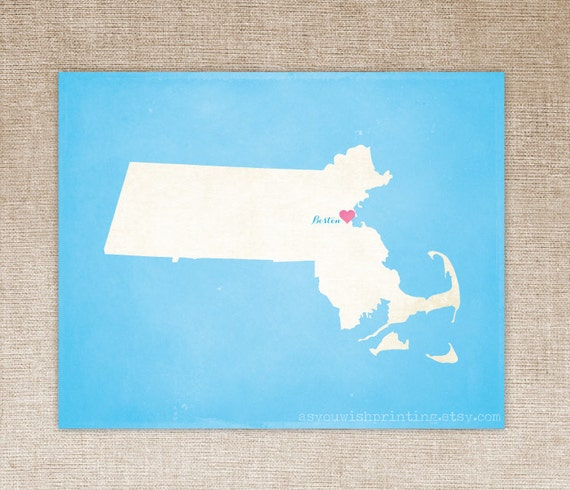 Customized Massachusetts 8 x 10 State Art Print, State Map, Heart, Silhouette, Aged-Look Print