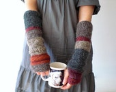 Hand knit arm warmers / urban rustic / cottage chic / earthy brown / berry red / country / gray / warm / for her / mix and match - MaybeTheWhiteDog