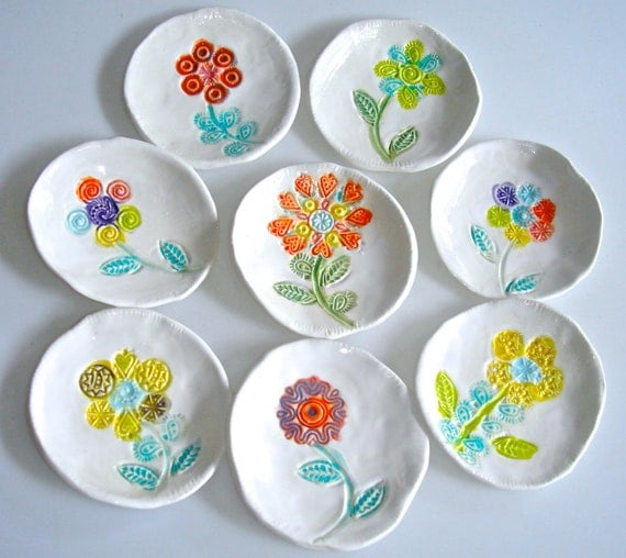 Colorful small plate set flower plates tapas plates by Clayshapes  sc 1 st  Craftjuice : tapas plates bowls set - pezcame.com