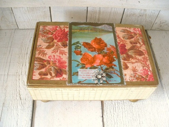 Vintage cigar box embellished roses mountain landscape postcard