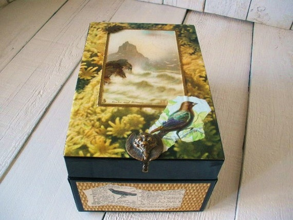 Metal box black embellished seascape postcard blackbird