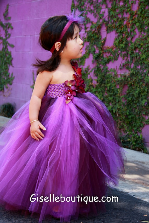 Limited Eggplant and Purple TuTu Dress. Wedding.Birthday.Flower Girl Dress