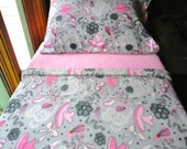 Childrens Fleece Bed Set  'Pink Ballerina' for Girls Handmade Fleece Sheets Fits Crib and Toddler Beds