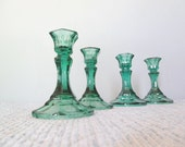Green Glass Candle Candlestick Holders Wedding Decor Centerpiece Emerald Woodland Elegant - ClassicRetro