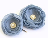 Grey Blue Chiffon Hair Flowers with Pearls and Rhinestones (2 pcs) Dusty Blue Flower Hair Accessories Bridesmaids Weddings Special Occasions - BelleBlooms