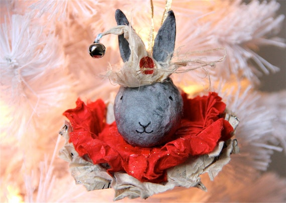 Christmas Tree Ornament Paper Mâché Jingles the Bunny